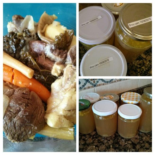 Brou, la carn i les verdures i els potets de brou