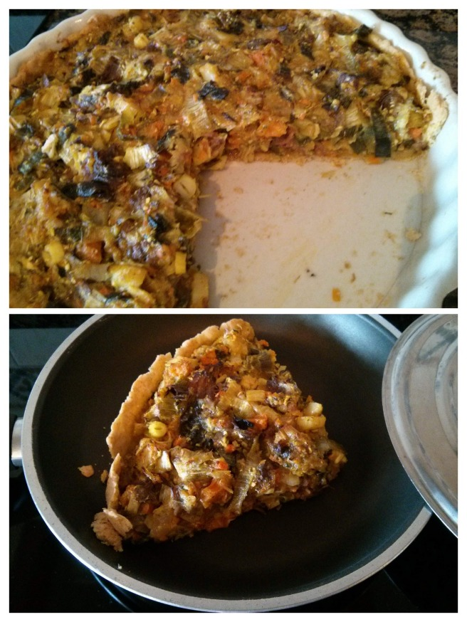 Pastís de carn i verdures de brou, escalfar una porció