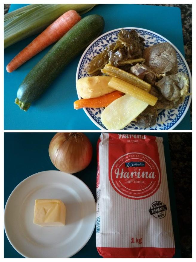 Pastís de carn i verdures del brou, ingredients de la farça