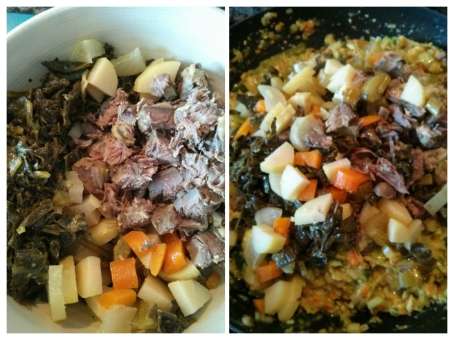 Pastís de carn i verdures de brou, piquem i afegim les verdures i la carn del brou