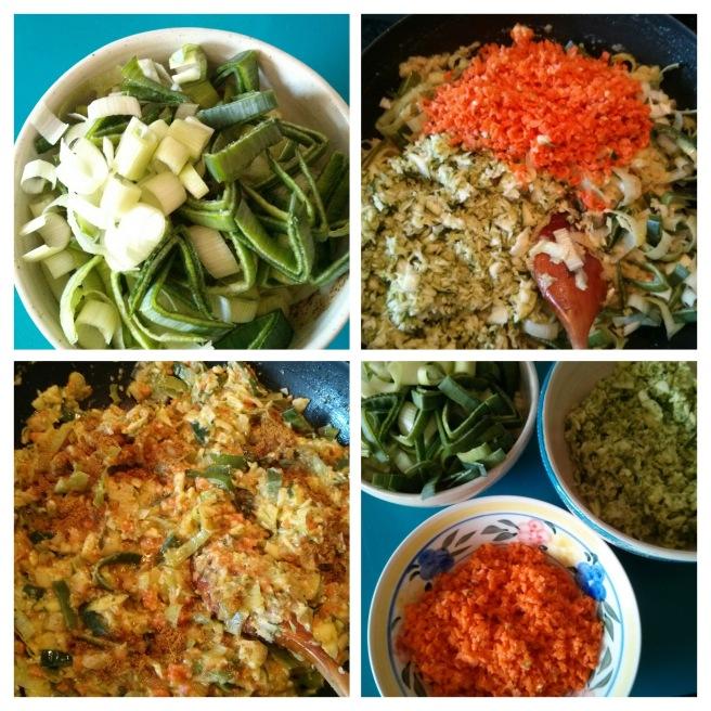 Pastís de carn i verdures de brou, piquem i ofeguem les verdures