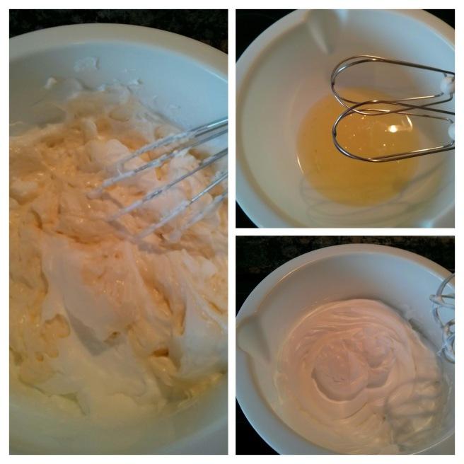 Pastís de fomatge japonès, muntem les clares amb el sucre i el suc de llimona i unim les dues preparacions