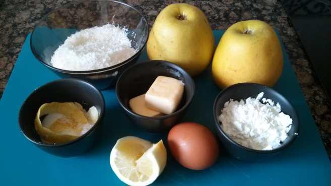 Pastís de poma i coco, ingredients