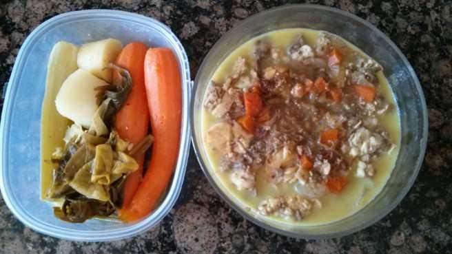 Les verdures i la carn del brou