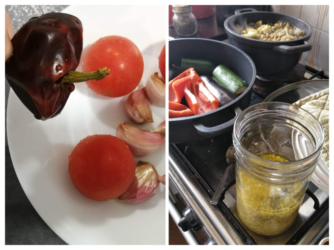 La cuina en acció i els bons ingredients del romesco -COLLAGE